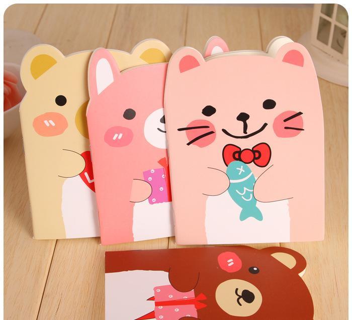 韩国创意文具 可爱小熊本子 小动物记事本-笔记本