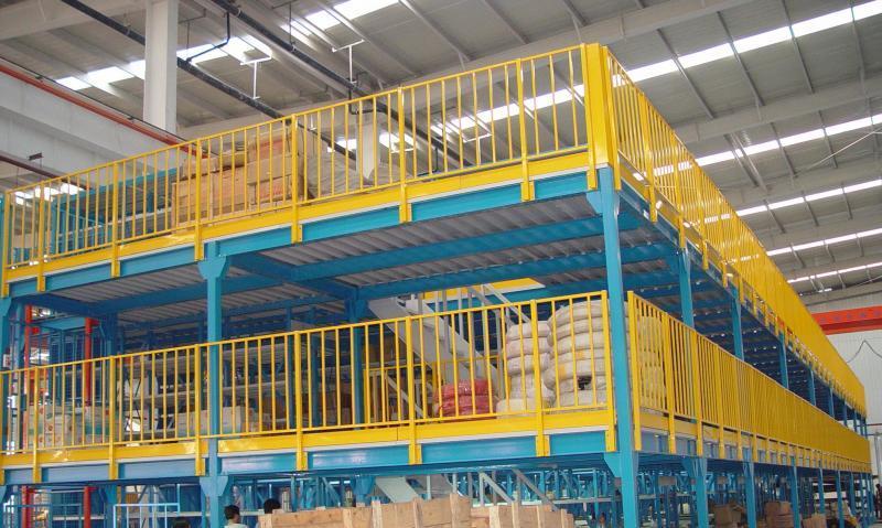 阁楼式货架简介: 阁楼式货架系统是在已有的工作场地或货架上建一个中间阁楼,以增加存储空间,可做二、三层阁楼,宜存取一些轻泡及中小件货物,适于多品种大批量或多品种小批量货物,人工存取货物.货物通常由叉车、液压升降台或货梯送至二楼、三楼,再由轻型小车或液压托盘车送至某一位置。 近几年多使用冷轧型钢楼板,它具有承载能力强、整体性好、承载均匀性好、精度高、表面平整、易锁定等优势.