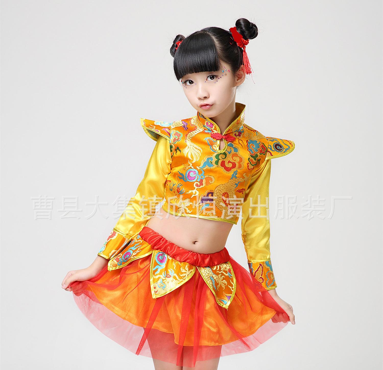 中国风范舞蹈服装儿童腰鼓服装幼儿古装肚兜