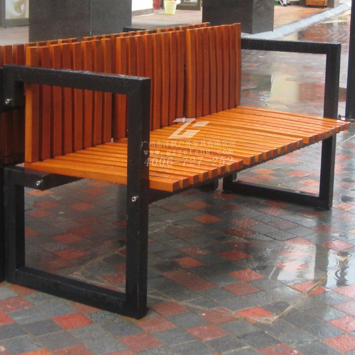 钢木结构园林椅 带扶手简约框架式公园休闲
