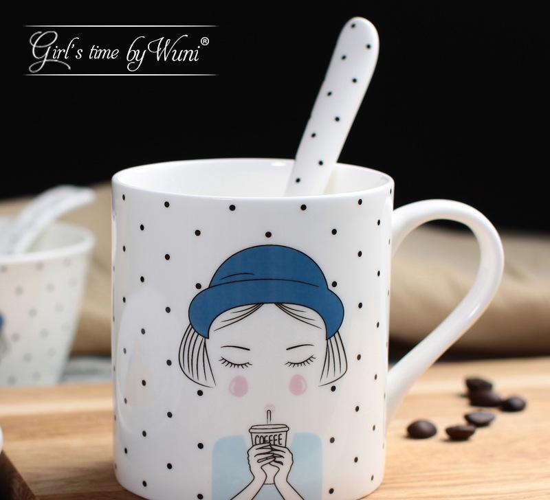 欧式简约可爱个性创意卡通陶瓷马克杯骨瓷杯-杯子