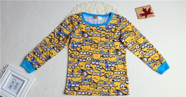 一件代发儿童睡衣睡裤批发 小黄人长t恤长