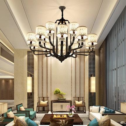 复式楼客厅大吊灯现代新中式灯具个性餐厅灯