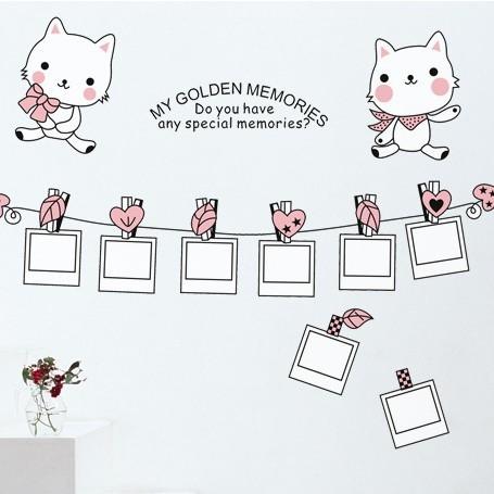 三代可移除 可爱卡通猫咪相册相框 客厅沙
