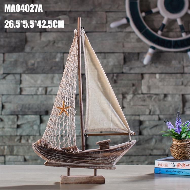 供应信息 木质工艺品 复古帆船 地中海渔船 家居饰品 创意船模家居