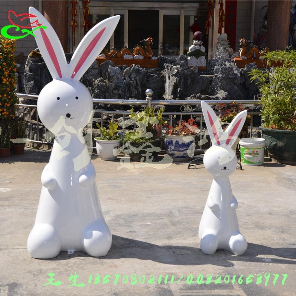 创鑫鸿玻璃钢制作 香港商业街动物兔雕塑