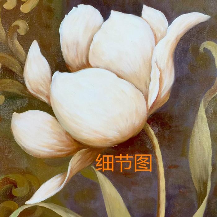 欧式古典三联组合油画手绘花卉油画 现代客