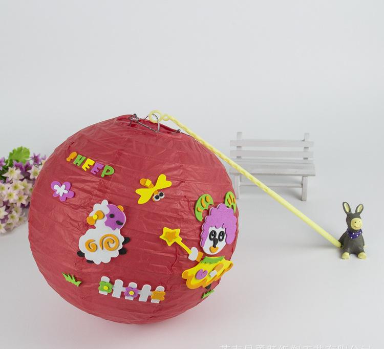 新年diy灯笼 环保材料动物拼图灯笼 幼儿园儿童彩色手工灯笼