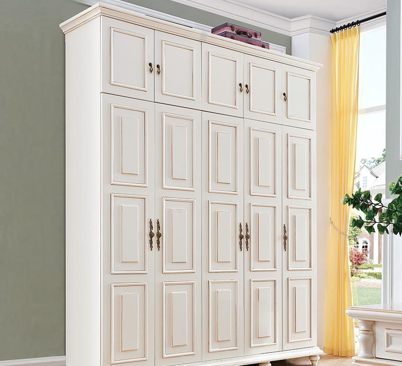 简约美式衣柜卧室实木2门3门小户型衣橱组合 美式乡村图片