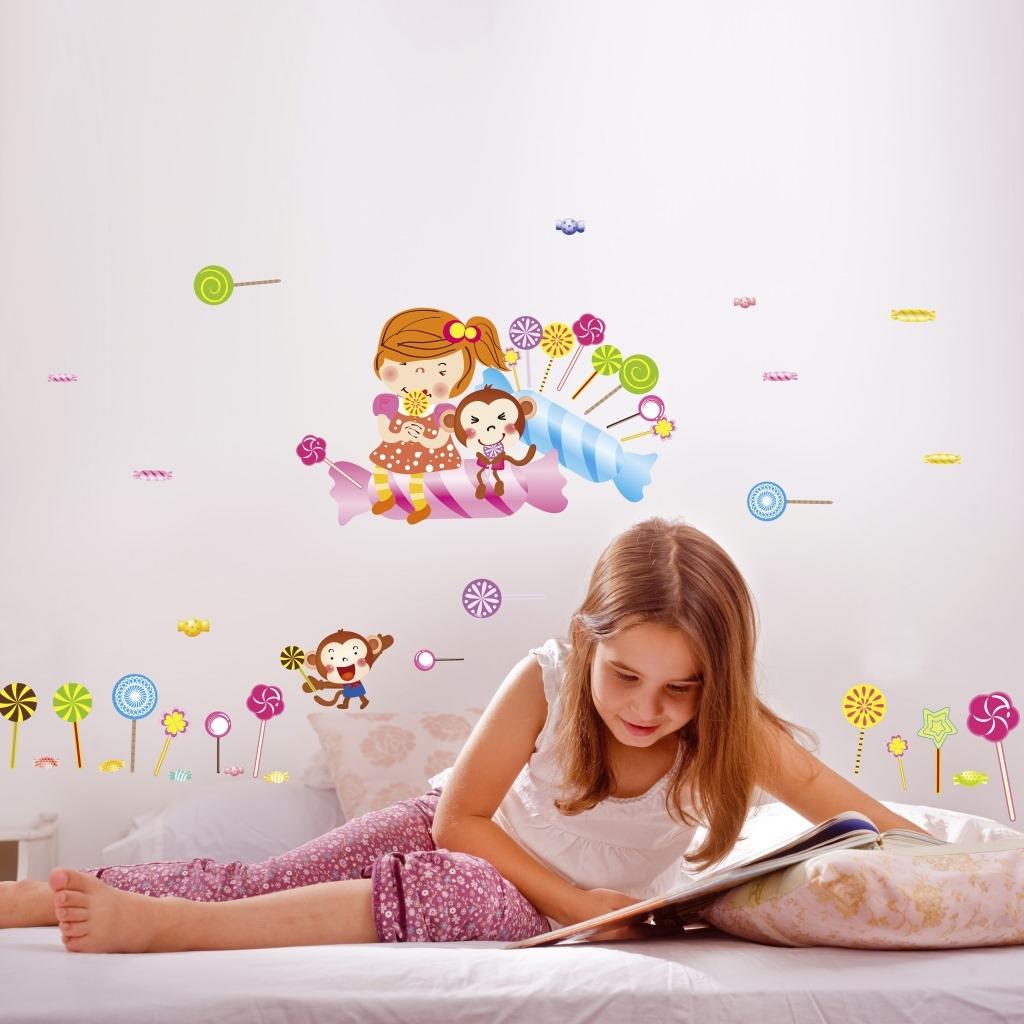 幼儿园卡通墙贴棒棒糖可爱小女孩装饰贴纸卧