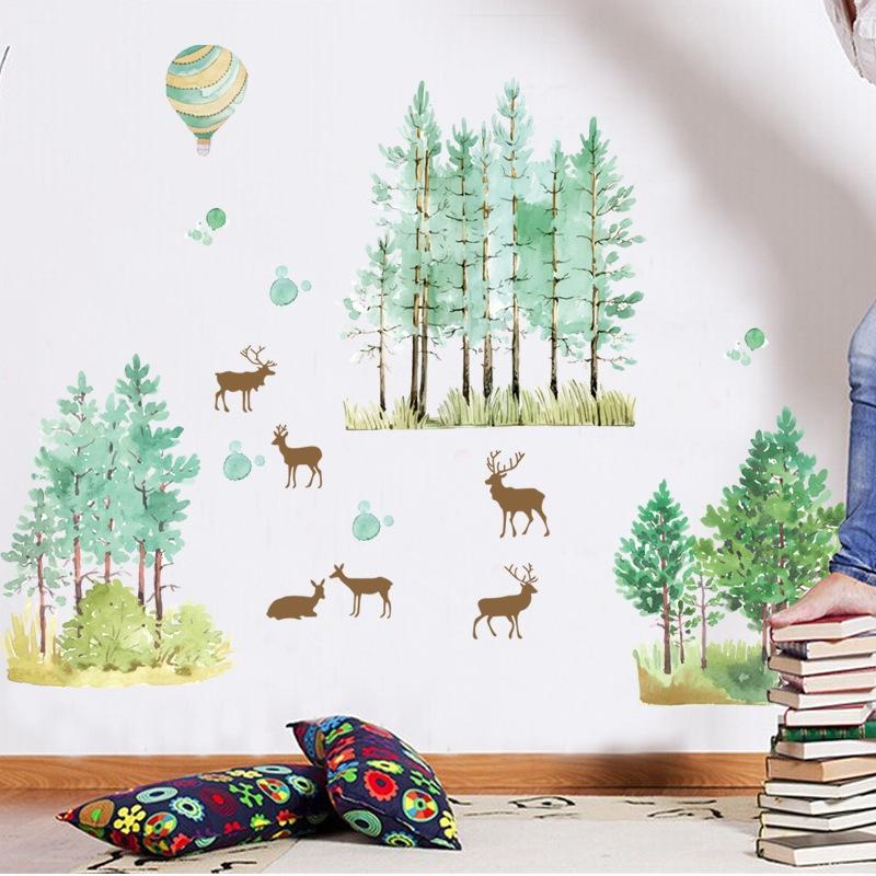 跨翔abc1059创意手绘森林小鹿墙贴客