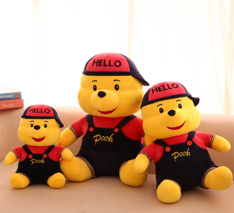 厂家直销 新款牛仔维尼熊毛绒玩具带帽背带可爱熊熊大号公仔批发