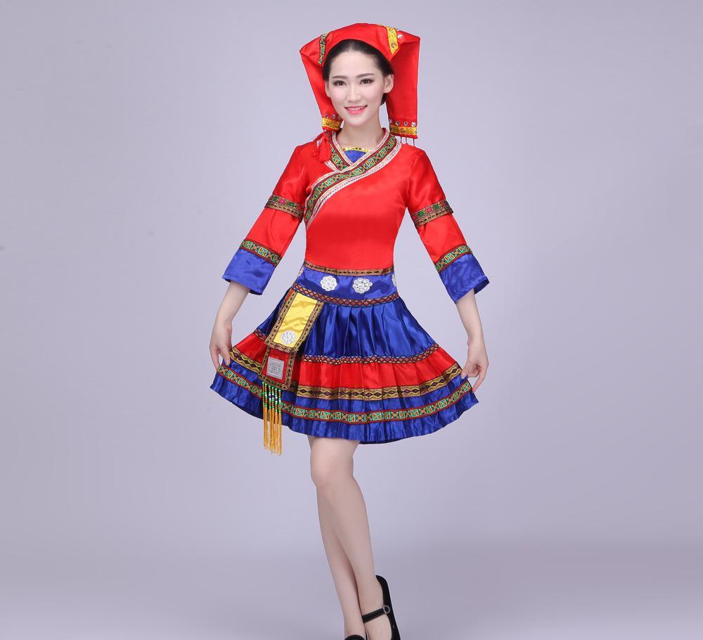 新苗族服装舞蹈演出服云南少数民族彝族壮族女装湘西瑶族舞蹈服饰