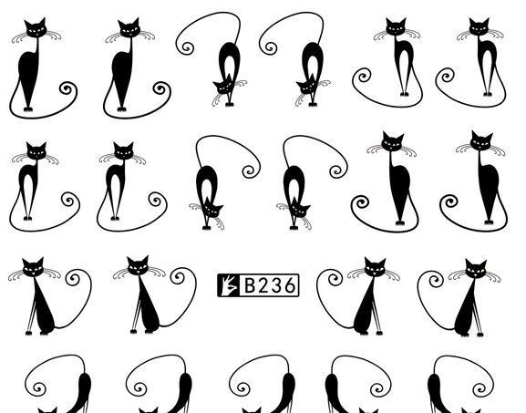 儿童水印美甲贴纸 黑白色小猫小狗兔子狐狸