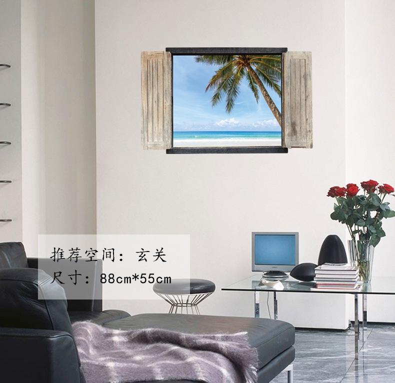 新款外贸3d窗户风景假窗墙贴 新中式卧室