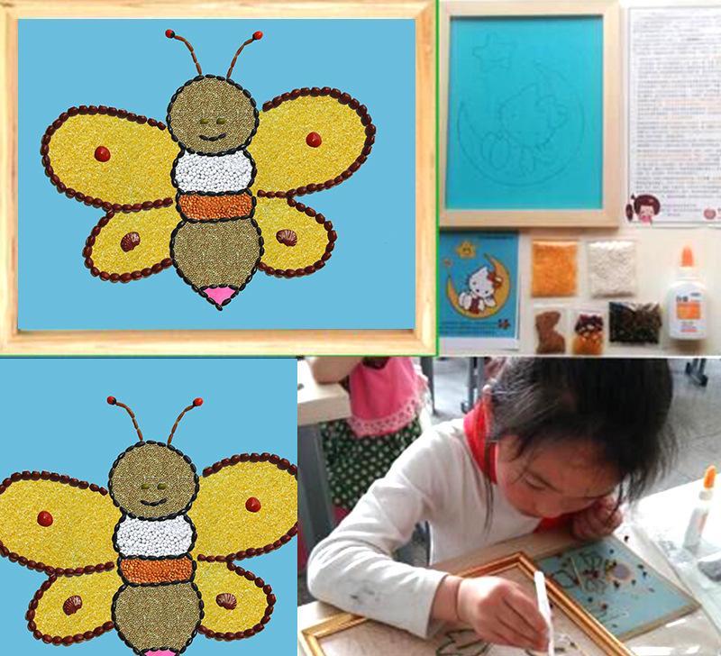 小蜜蜂简笔画diy手工制作创五谷画 儿童