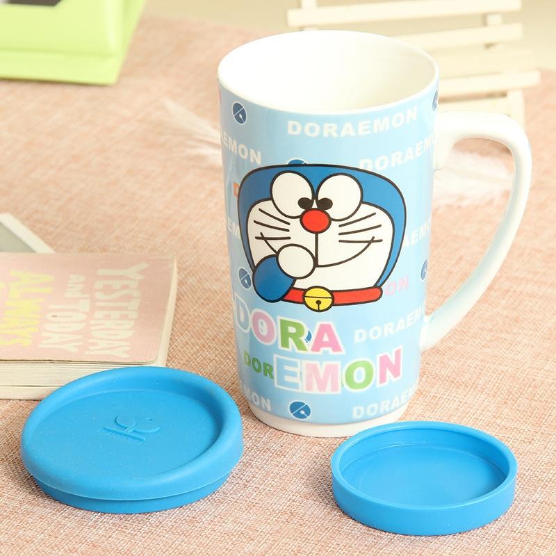 韩国时尚可爱卡通陶瓷水杯大容量盖马克杯带