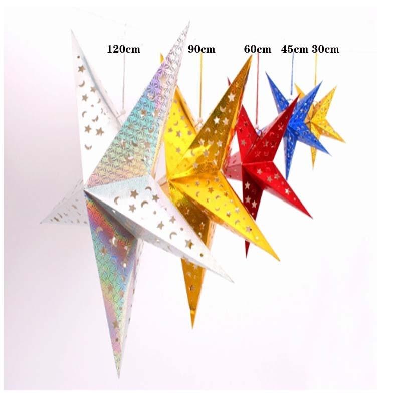 立体镭射五角星吊顶挂饰纸五星新年春节婚礼