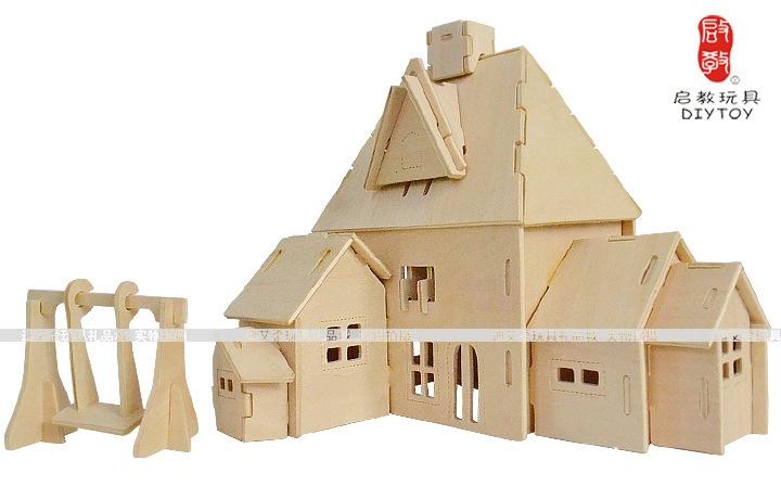 创业货源小房子创意礼品 3d木制立体拼图