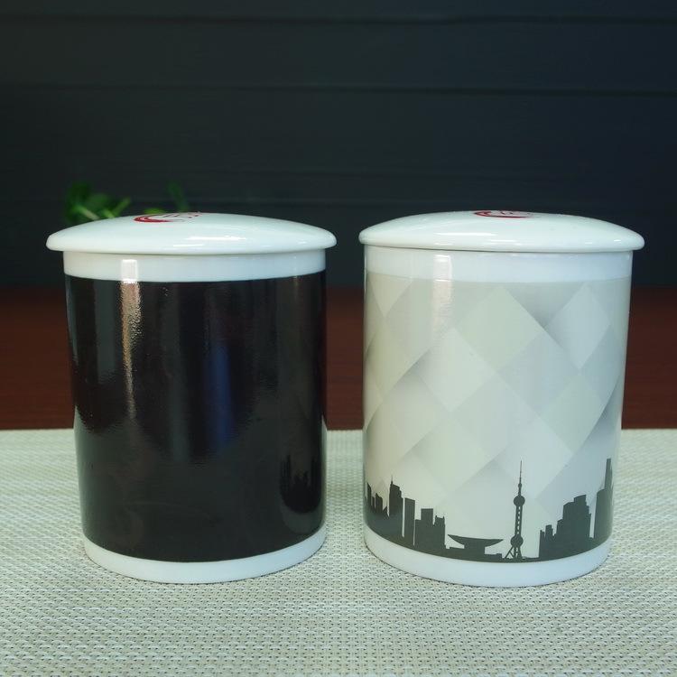 变色杯厂家 创意陶瓷马克杯定制带盖直身广