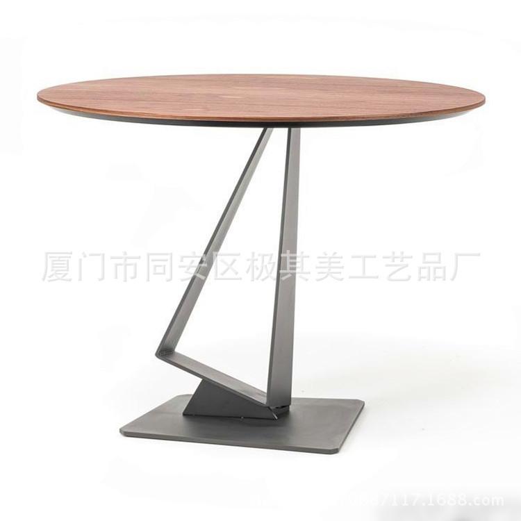 欧式客厅实木茶几圆形创意桌椅铁艺休闲室内