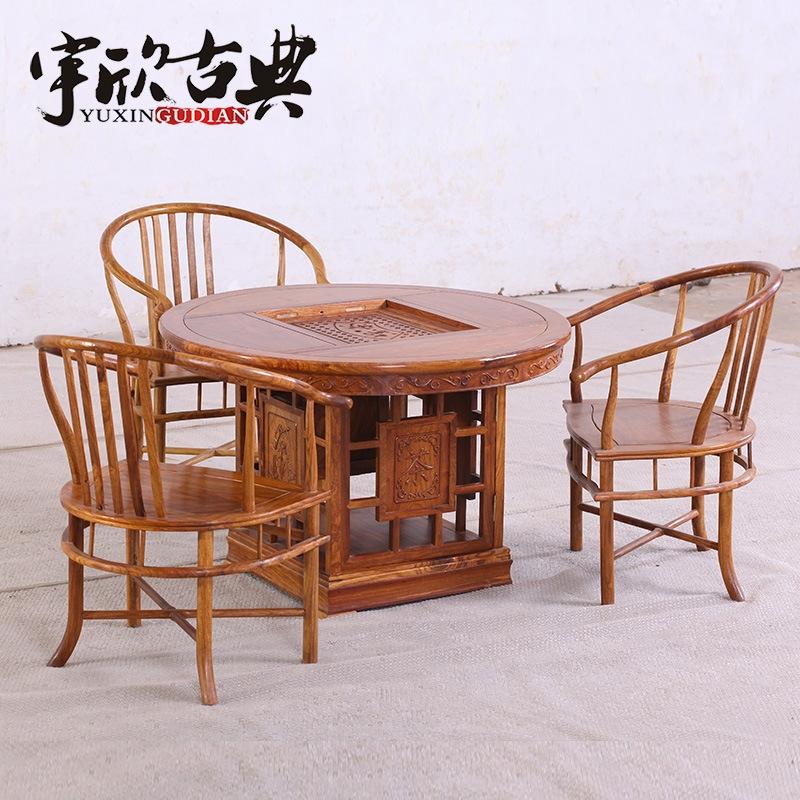 红木家具批发 中式红木功夫茶桌 圆形餐桌