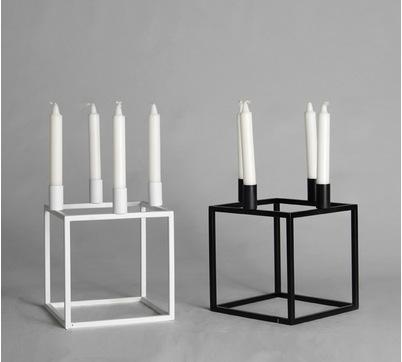 北欧简约现代铁艺黑白色创意时尚正方形蜡烛