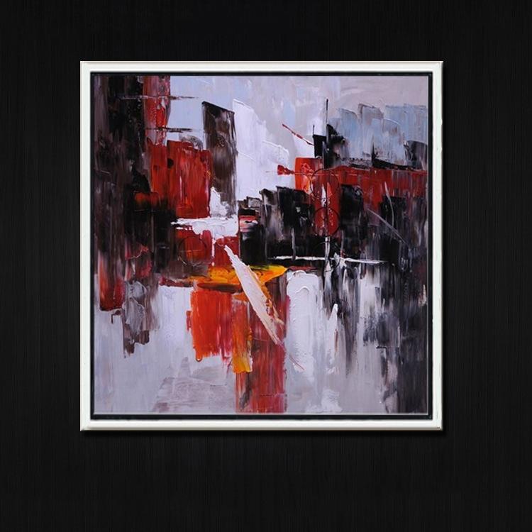 手绘现代抽象客厅油画装饰画抽象风景定制家