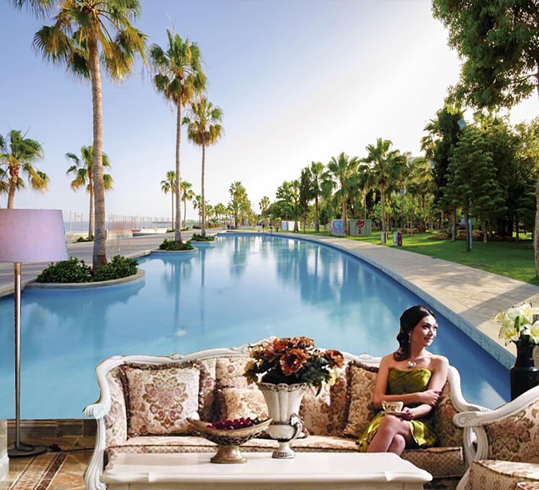 现代简约客厅电视背景墙墙纸海边椰树游泳池沙滩风景壁画13673552