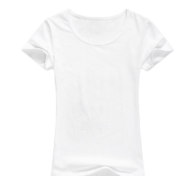 空白t恤设计图_纯色空白t恤批发短袖圆领200克40支精梳纯棉女款收腰热转印t恤
