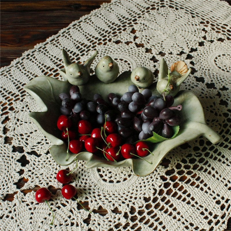 厂家直销出口陶瓷树叶小鸟盆创意家居果盘摆