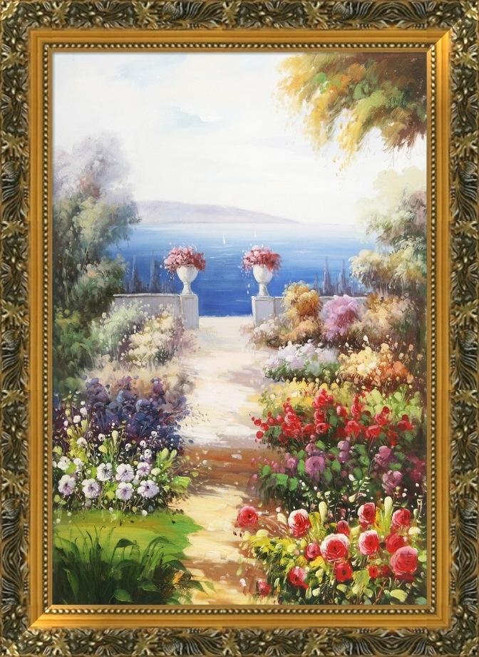 有框欧式装饰画古典油画风景实木外框竖幅2