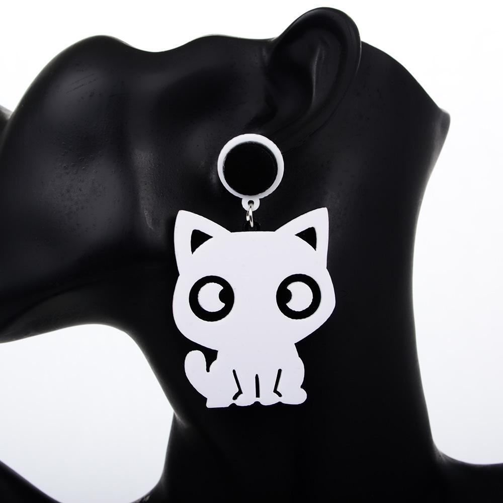 韩版简约可爱黑白小猫咪不对称耳钉时尚卡通