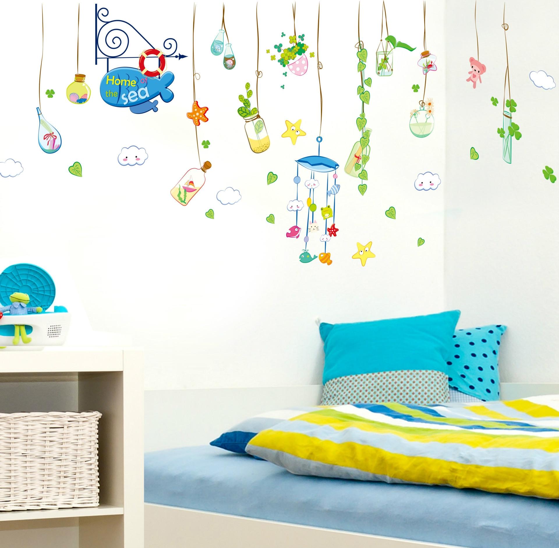 墙纸墙贴批发海洋之家卡通儿童房卧室教室可