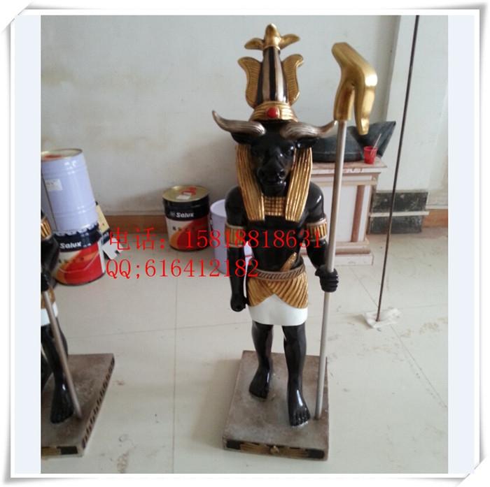 埃及人物顶盆雕像,埃及怪武士,玻璃钢彩绘-景观雕塑