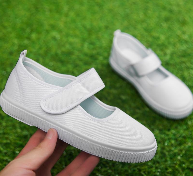 儿童白布鞋 学生白鞋男童女童帆布鞋 幼儿园 舞蹈运动