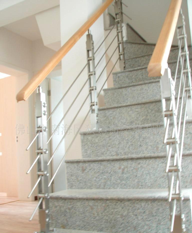 实木马蹄形扶手不锈钢立柱穿拉丝家居楼梯栏杆/护栏 dms-16图片