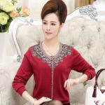 2016中老年女装秋装新款长袖印花针织衫