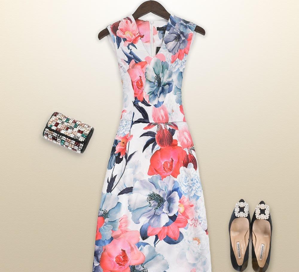 2016夏季欧美女装优雅淡色古风v领无袖连衣裙
