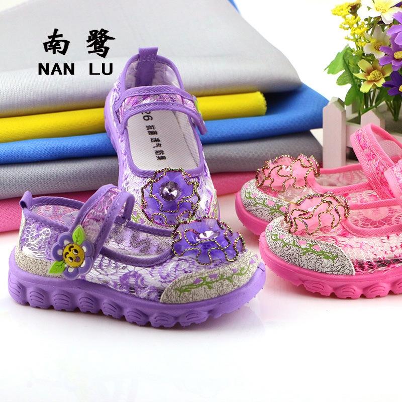 女童 网鞋 可爱花朵网单鞋 夏季镂空儿童