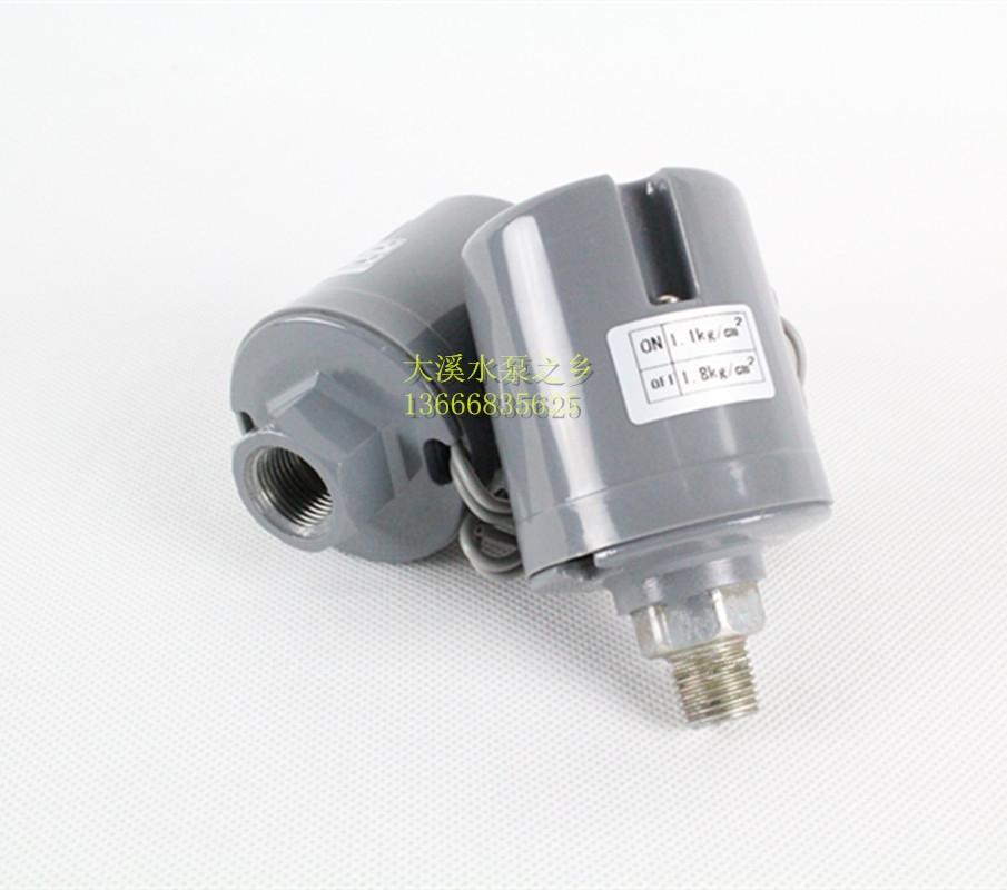 产品介绍:   该压力开关适用于冷热水自动自吸泵,家庭增压泵、管道泵等其他水泵上,能自动控制水泵的启动与停止,操作简单,性能稳定,保护机器,节省耗电量等。压力控制公斤压力需要选配(1KG=10米)。  技术参数:  额定电压:220-240V额定电流:16A  螺纹分类:  外丝:为2分外丝(1/4);直径12.