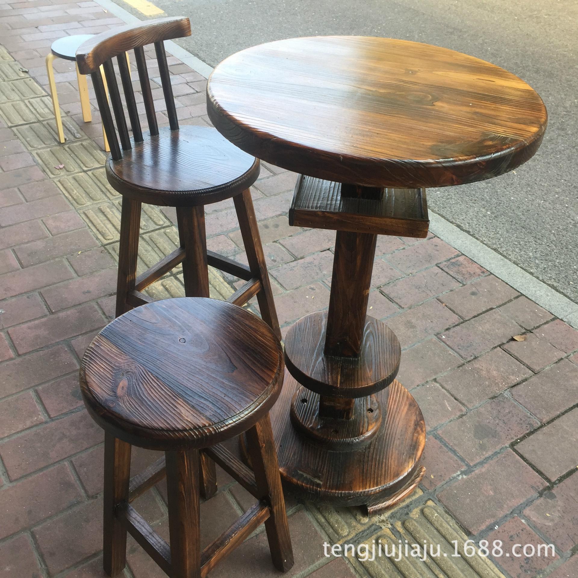 酒吧桌椅 实木吧椅 防腐酒吧实木吧台吧凳