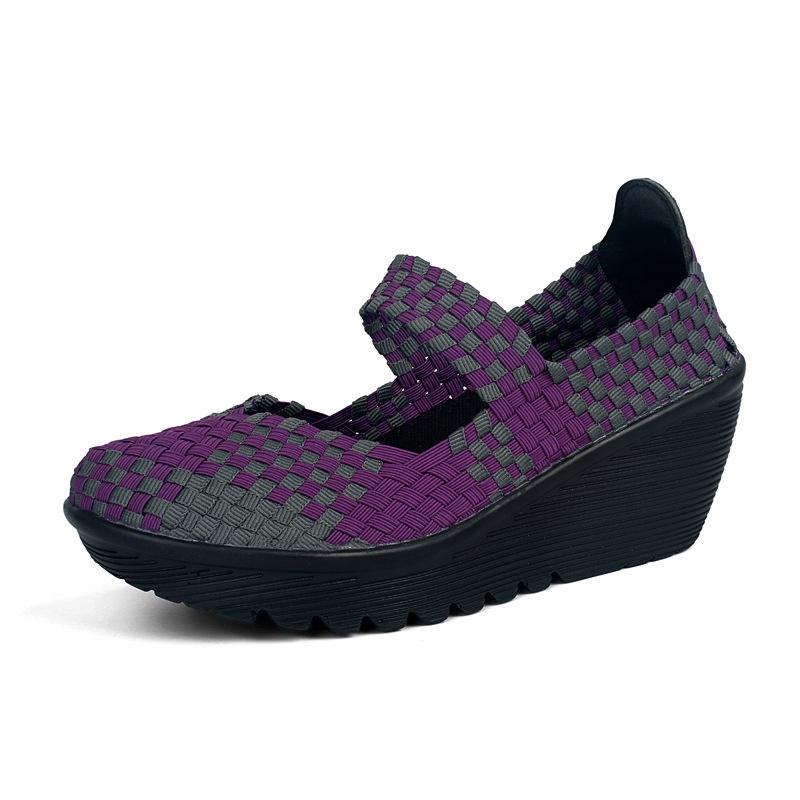彩色纯色编织女鞋 百搭时尚潮流搭扣坡跟鞋