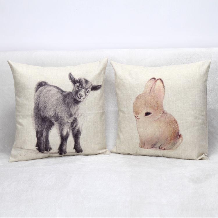 外贸批发热卖呆萌小动物亚麻家居沙发办抱枕