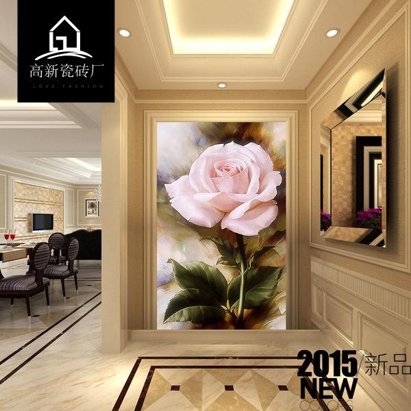 欧式现代简约瓷砖玄关背景墙过道走廊立体3