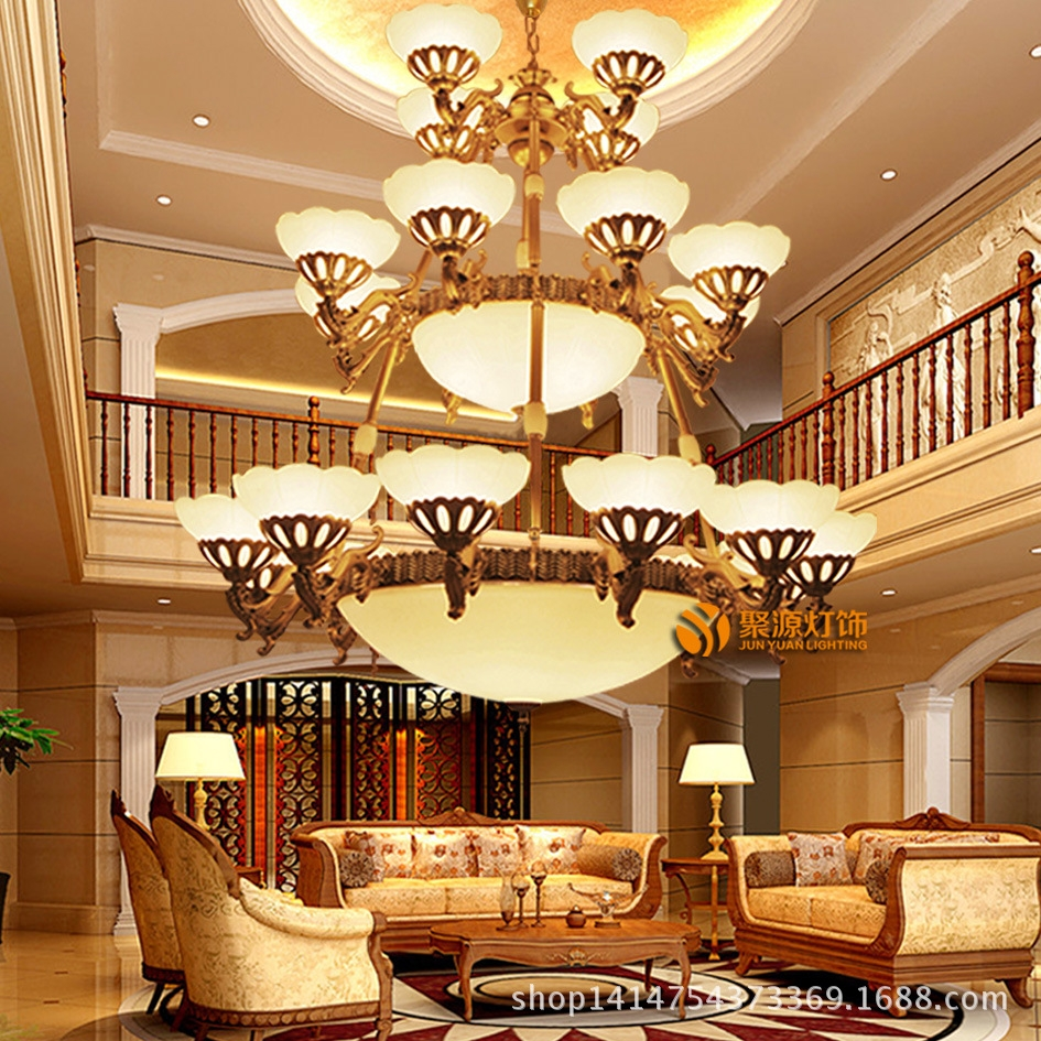 欧式别墅三层铁艺吊灯 复式楼梯超大客厅工