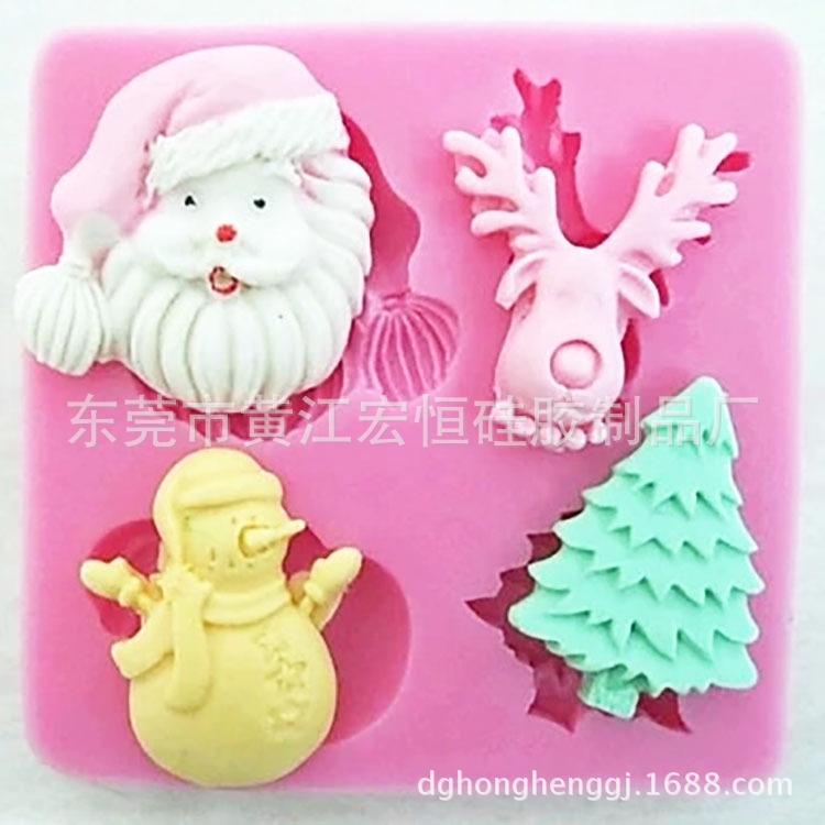 厂家专业生产圣诞节系列翻糖巧克力装饰模