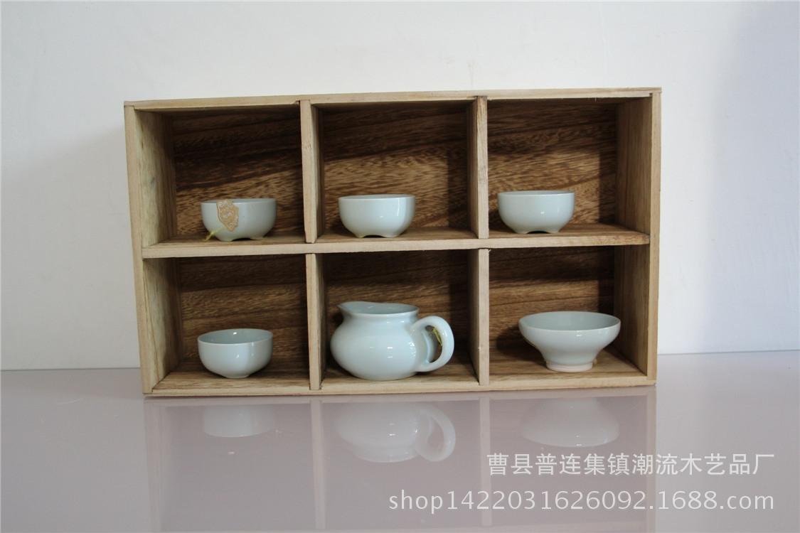木制双排六格家居创意格子置物架 定做批发