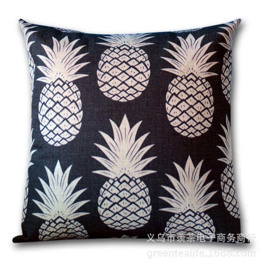 黑白文艺抱枕菠萝印花靠枕套棉麻加厚抱枕沙