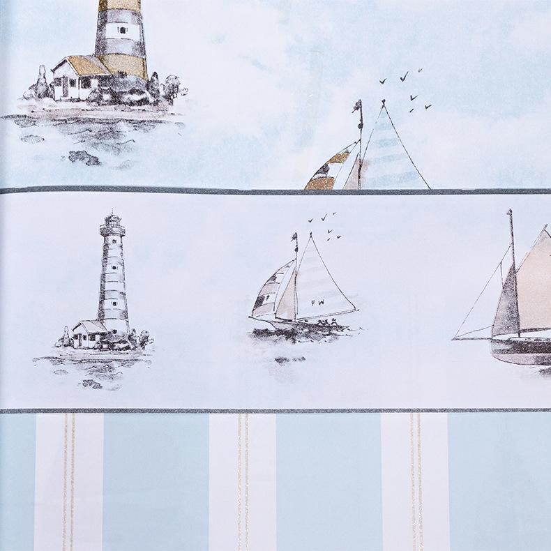 批发地中海帆船儿童无纺布墙纸 卡通环保男